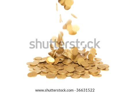 Rain of golden coins isolated on white