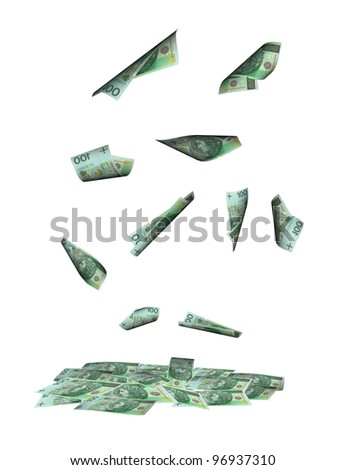 Rain of money. Polish bank notes falling - stock photo