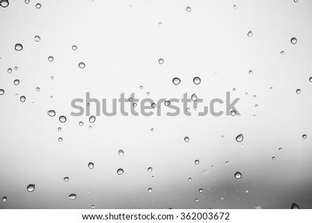 rain on the window glass - stock photo