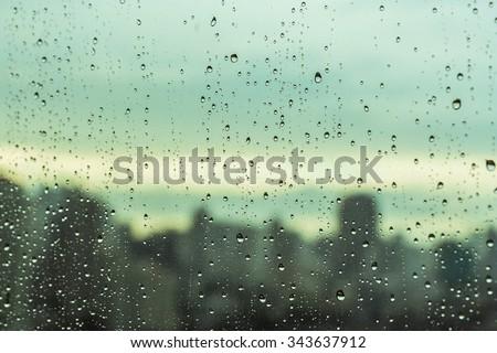 Rain over Bangkok - stock photo