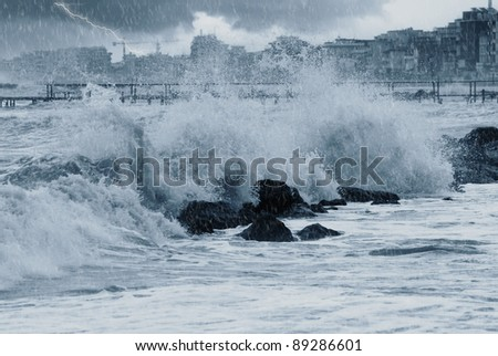 rain over the stormy sea