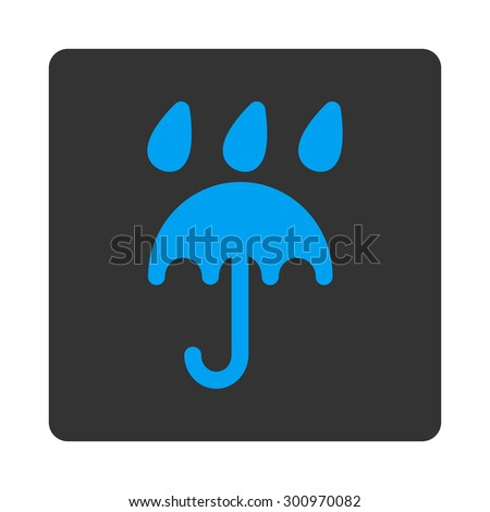 Rain protection icon. Glyph style is white and gray colors, flat rounded square button on a white background. - stock photo