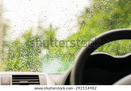 rain road. - stock photo