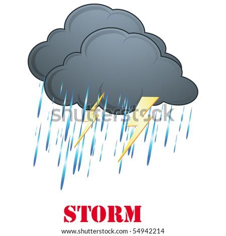 Rain, Storm weather sign,icon isolated on white - stock photo
