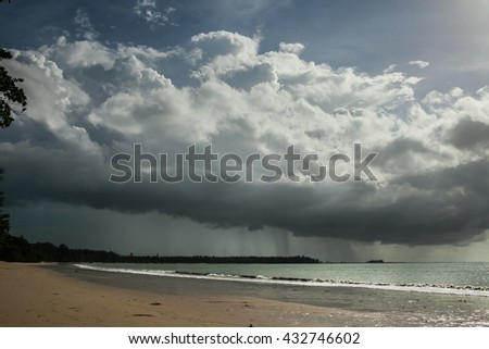 Rain storms are happening at sea in Thailand.