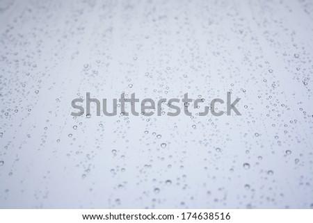 rain Water drop on a mirror - stock photo