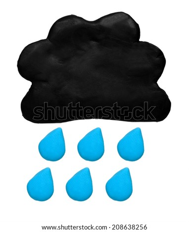 Rain weather forecast icon symbol plasticine clay on white background - stock photo