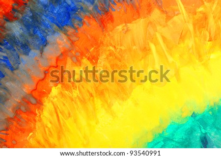 Rainbow. Abstract watercolor drawing on a paper - stock photo