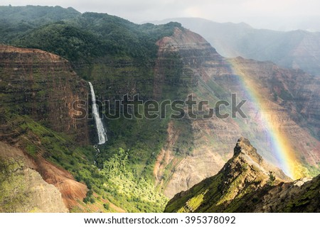 Rainbow according to the Waimea Canyon, Kauai, Hawaii-2 - stock photo