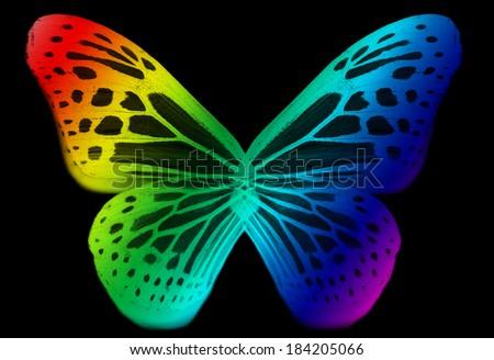 Rainbow art butterfly isolated - stock photo