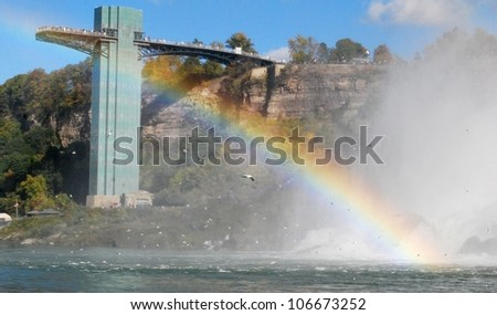 Rainbow at Niagara Falls Tower , View from Canada - stock photo