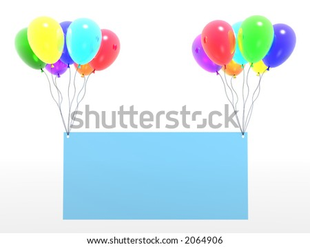 rainbow baloons with empty blank - stock photo