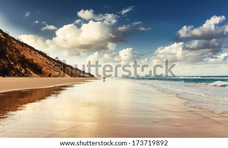 Rainbow Beach at beautiful sunset, Queensland, Australia - stock photo