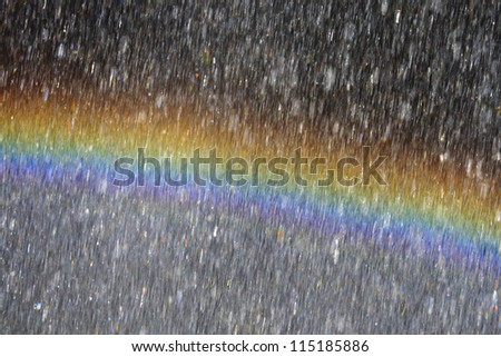 Rainbow behind waterdrops - stock photo