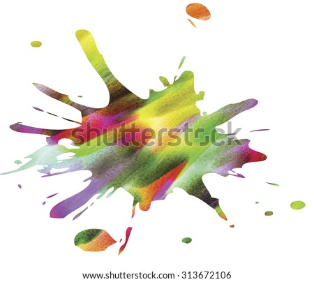 Rainbow Blob, isolated on a white background. Bright abstract blot. - stock photo