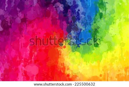 Rainbow bright brush spray - stock photo