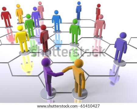 Rainbow business network - stock photo