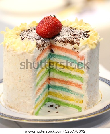 Rainbow cake close up - 16 layered cake - stock photo