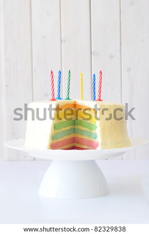 Rainbow cake on a cake stand