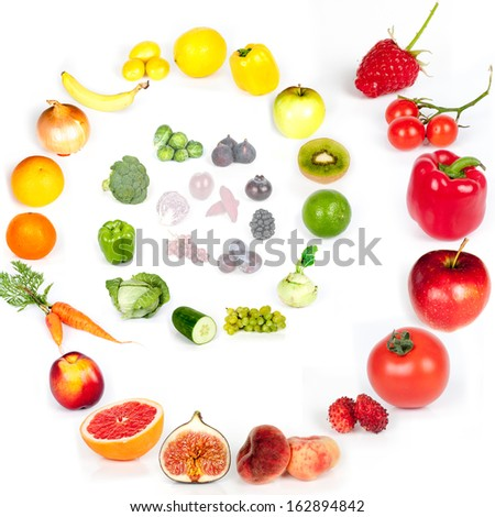 Rainbow collection of fruits and vegetables - swirl - stock photo
