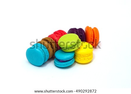 Rainbow color of small Buttercream Macaroon on white background