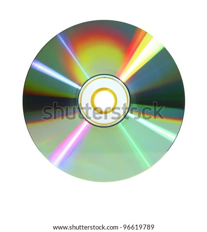 rainbow-colored or iris-like data disc dvd in bright light isolated on white background - stock photo