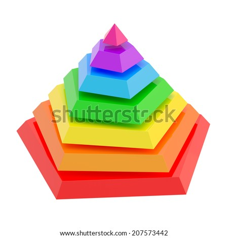 Rainbow colored pyramid divided into seven segments, isolated over the white background - stock photo