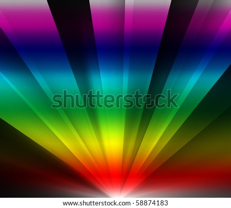 Rainbow colored rays of light