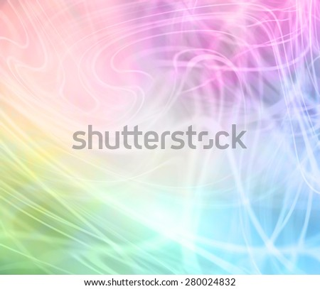 Rainbow Colored Swirling Graphic Background - Transparent random swirling lines on a rainbow colored background - stock photo