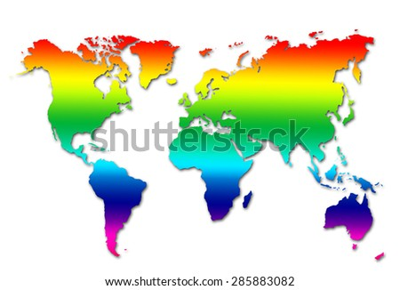 rainbow colorful world map