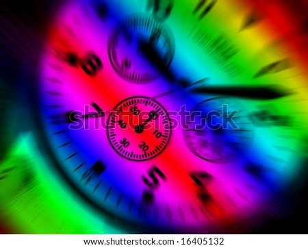 Rainbow colors applied to dial of wrist watch - stock photo