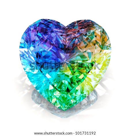 rainbow diamond heart shape blue isolated on white background - 3d render. - stock photo