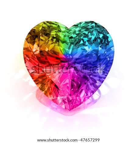 rainbow diamond heart shape blue isolated on white background - 3d render - stock photo