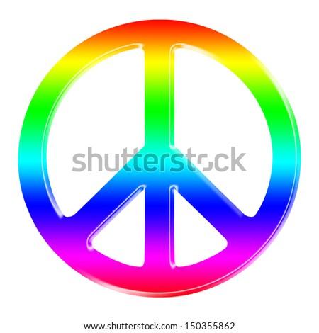 rainbow dimensional peace sign - stock photo