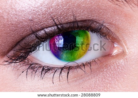 rainbow eye - stock photo