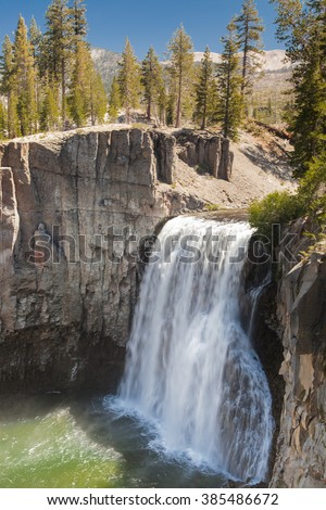 Rainbow Fall in Devils Postpile National Monument, Mammoth Lakes, California, USA. - stock photo