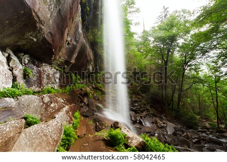 Rainbow Falls, the Great Smoky Mountains National Park, side view - stock photo
