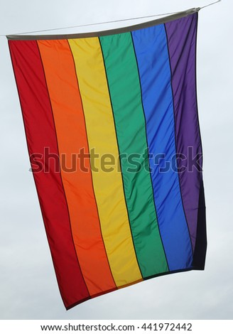 Rainbow flag at Greenwich Village in New York City - stock photo