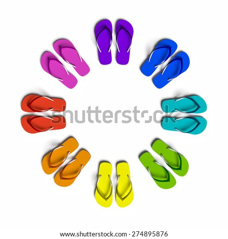 Rainbow flip flops in the circle. Isolated on the white. - stock photo