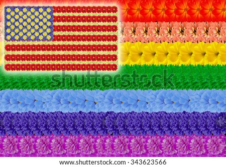 Rainbow gay and usa american flags background. Abstract handmade collage from summer flowers - stock photo