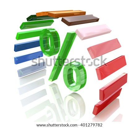Rainbow grow up with percent sign. 3D rendered illustration - stock photo