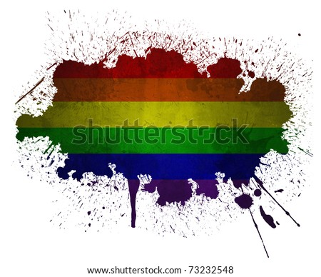 Rainbow grunge flag paint splatter - stock photo