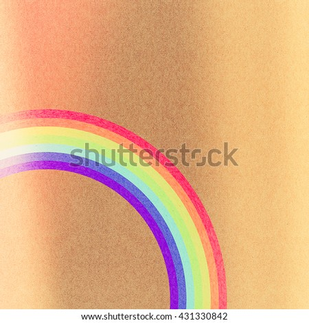 Rainbow grunge  paper texture on brown background - stock photo