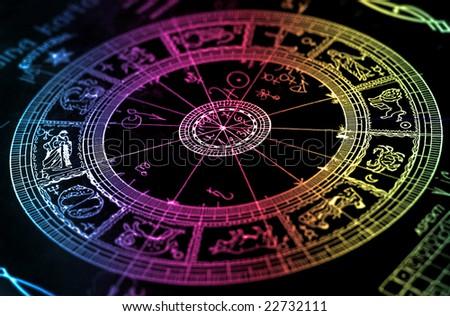 Rainbow horoscope wheel chart - stock photo