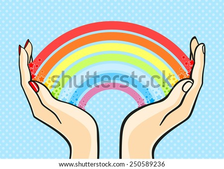 Rainbow in hands (raster version) - stock photo