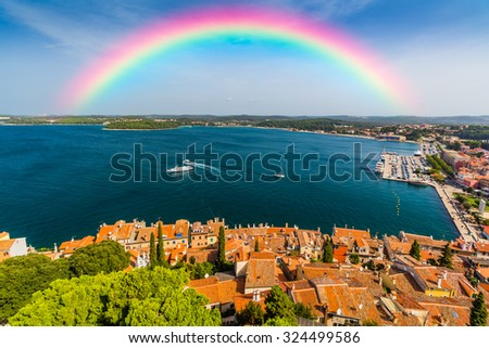 Rainbow in the sky - stock photo