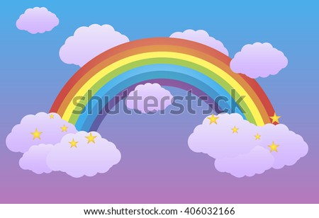 Rainbow in the sky among the clouds.