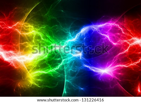 Rainbow lightning - stock photo