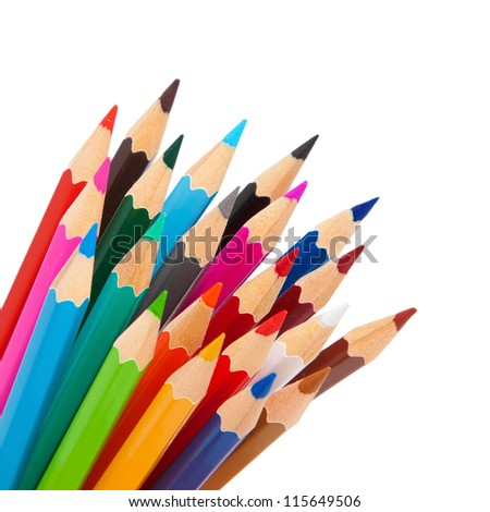 Rainbow many pencils  as a bunch or bouquet isolated on  white background - stock photo