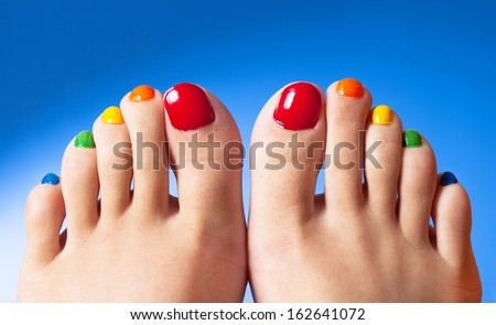 Rainbow nail polish feet art